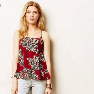 Anthropologie | Maeve Zabella Silk Floral Tank Top